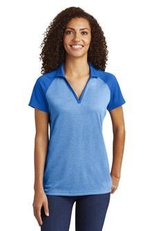 LST641 Sport-Tek® Ladies PosiCharge® RacerMesh® Raglan Heather Block Polo