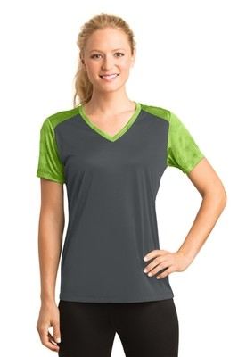 LST371 Sport-Tek® Ladies CamoHex Colorblock V-Neck Tee