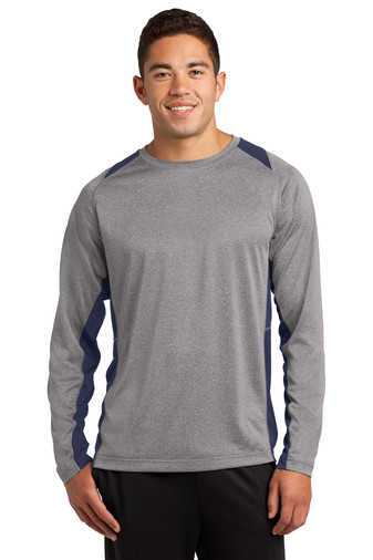 ST361LS Sport-Tek® Long Sleeve Heather Colorblock Contender™ Tee