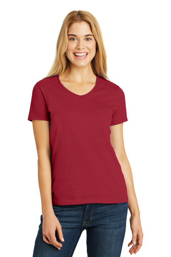 5780  Hanes® Ladies Tagless® 100% Cotton V-Neck T-Shirt