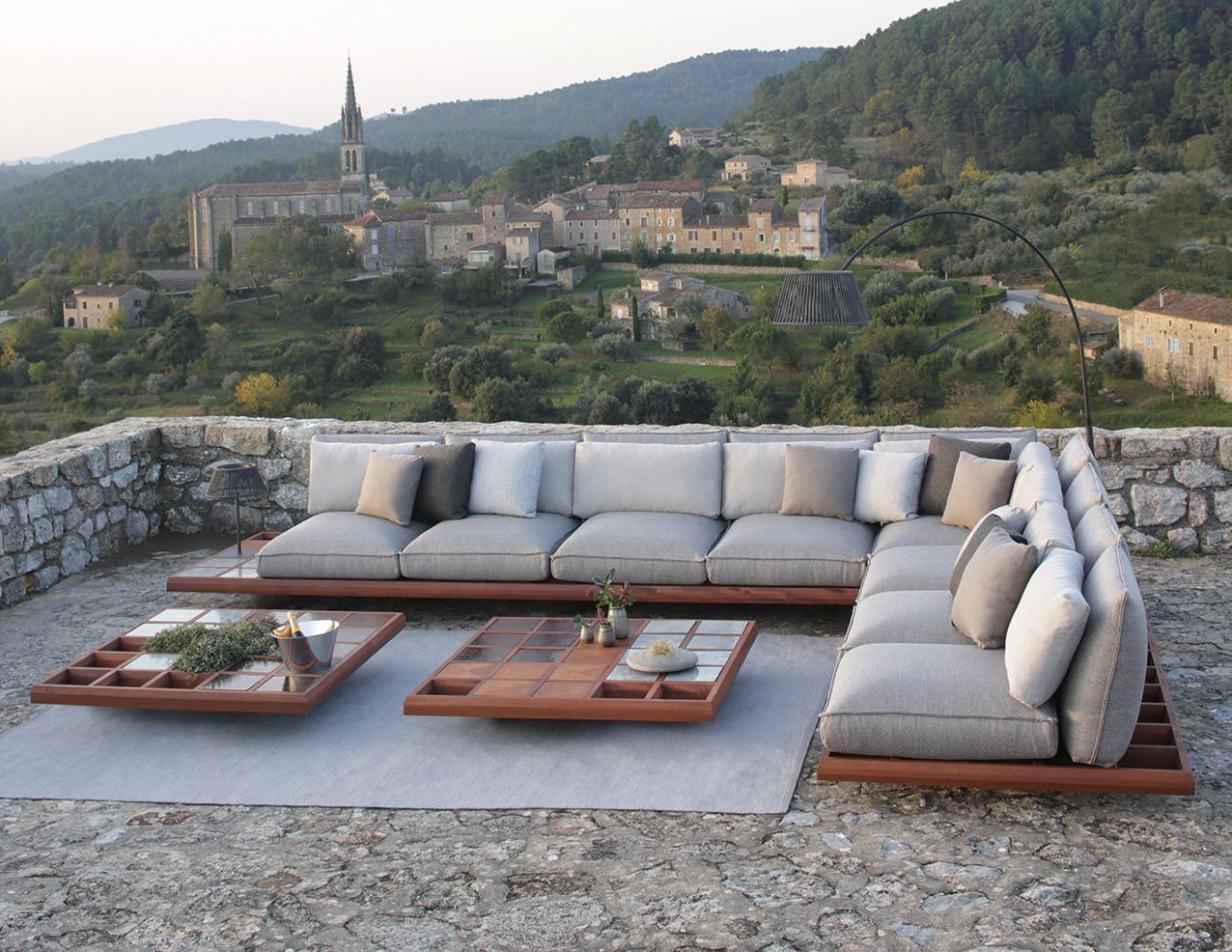 MOZAIX LOUNGE Мозаикс лаунж мебель из махагона и влагостойкой ткани Royal Botania Бельгия