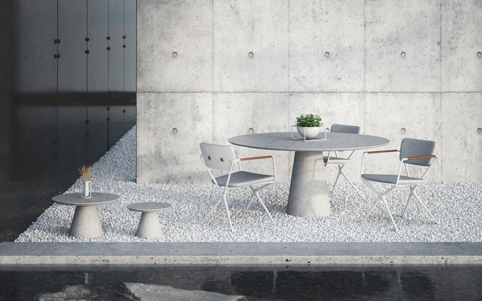CONIX Коникс столы для улицы и террасы из керамики и тика Royal Botania, Бельгия