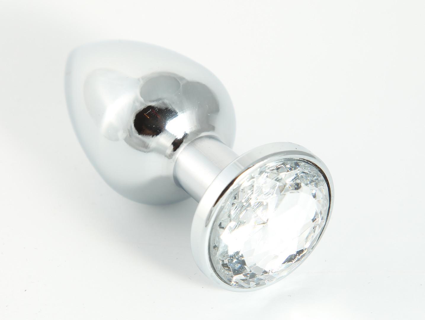 Metallplug klein mit transparentem Kristall