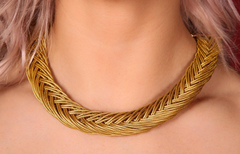 Goldgras Collier geflochten