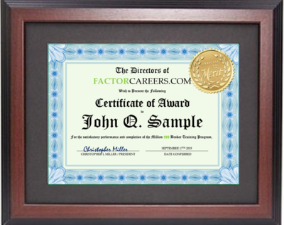Professionally Framed Certificate