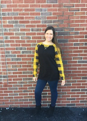 Mustard Give Me All The Plaid Sweater