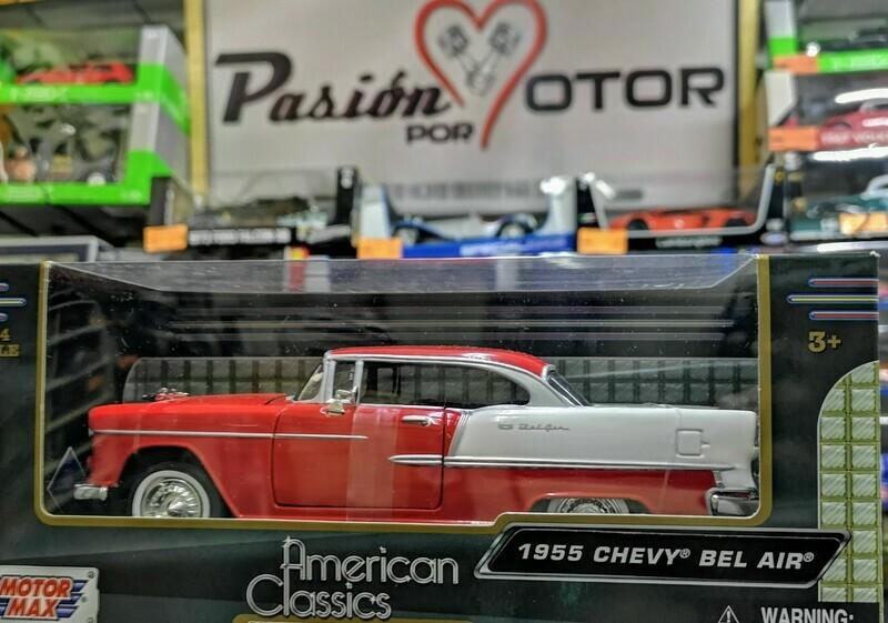 1:24 Chevrolet Bel Air Coupe 1955 Rojo C Blanco Motor Max C Caja