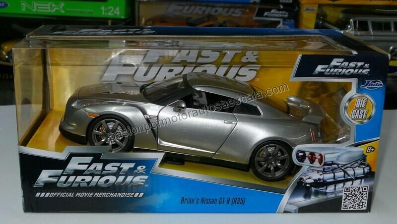 1:24 Nissan GT-R R35 2009 Plata Rapido Y Furioso Jada Toys C Caja