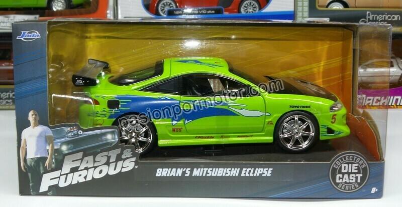 1:24 Mitsubishi Eclipse 1995 Verde Brian´s  Rapido Y Furioso Jada Toys C Caja