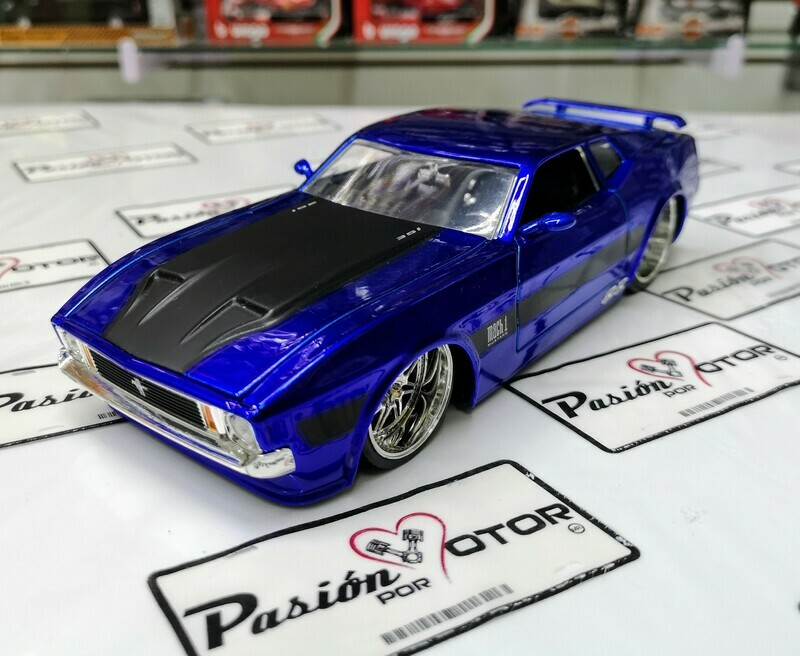 1:24 Ford Mustang Mach 1 1973 Azul Candy Jada Toys Big Time Muscle Shelby En Display / A Granel