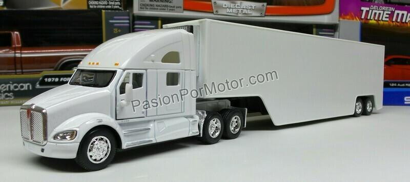 1:68 Kenworth T700 Blanco C Caja Seca Panzona Trailer Kinsmart 1:64 En Display / a Granel