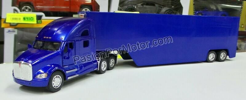 1:68 Kenworth T700 Azul C Caja Seca Panzona Trailer Kinsmart 1:64 En Display / a Granel