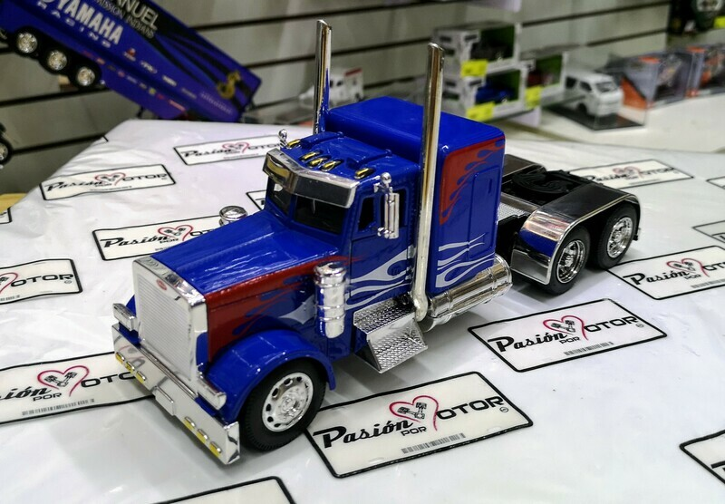 1:32 Peterbilt Model 379 Custom Azul con Flamas Cabina New Ray En Display / A Granel