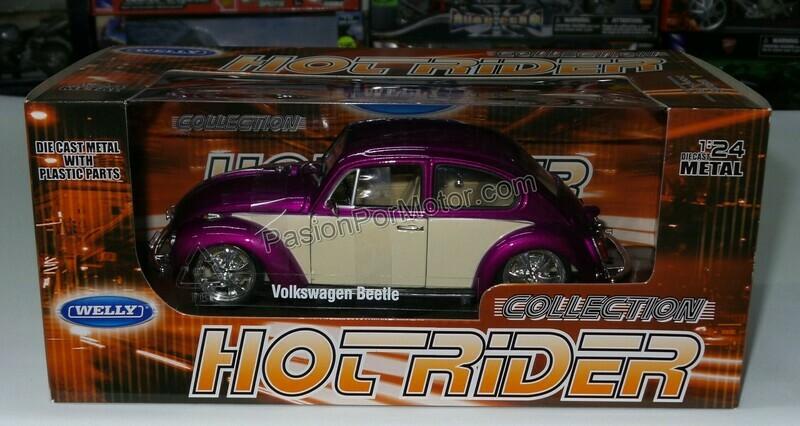 1:24 Volkswagen Beetle 1302 1972 Custom Fucsia Welly C Caja