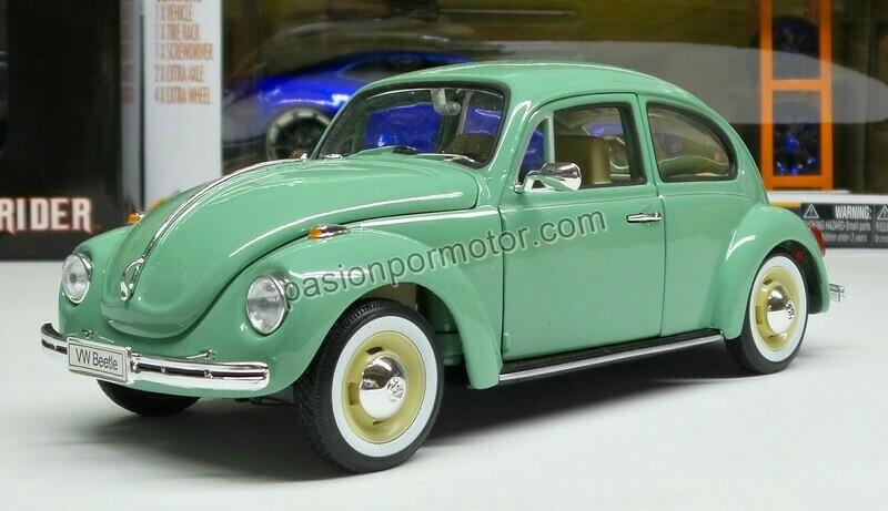 1:24 Volkswagen Beetle 1302 1972 Verde Welly En Display / A Granel