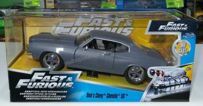 1:24 Chevrolet Chevelle SS 1970 Gris Mate Dom's Toretto Rapido Y Furioso 4 Jada Con Caja