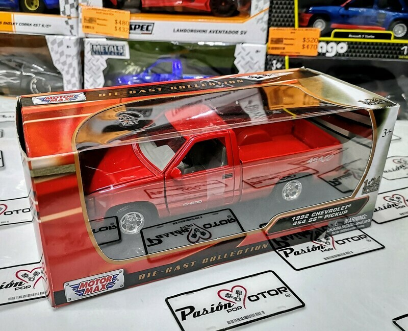 1:24 Chevrolet Pick Up 454 SS 1992 Roja Motor Max C Caja