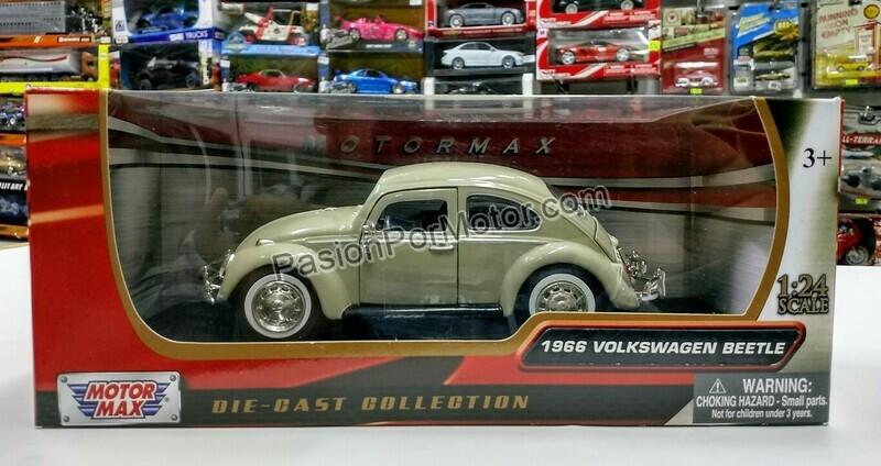 1:24 Volkswagen Beetle 1966 Beige Motor Max Vocho C Caja