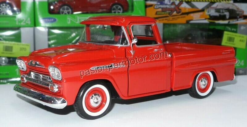 1:24 Chevrolet Apache 1958 Pick Up Roja Motor Max C Caja