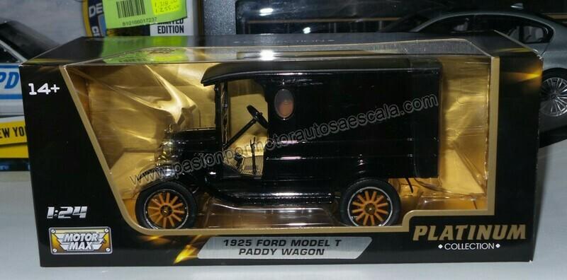 1:24 Ford T Paddy Wagon 1925 Negro Motor Max Platinum Carcacha C Caja