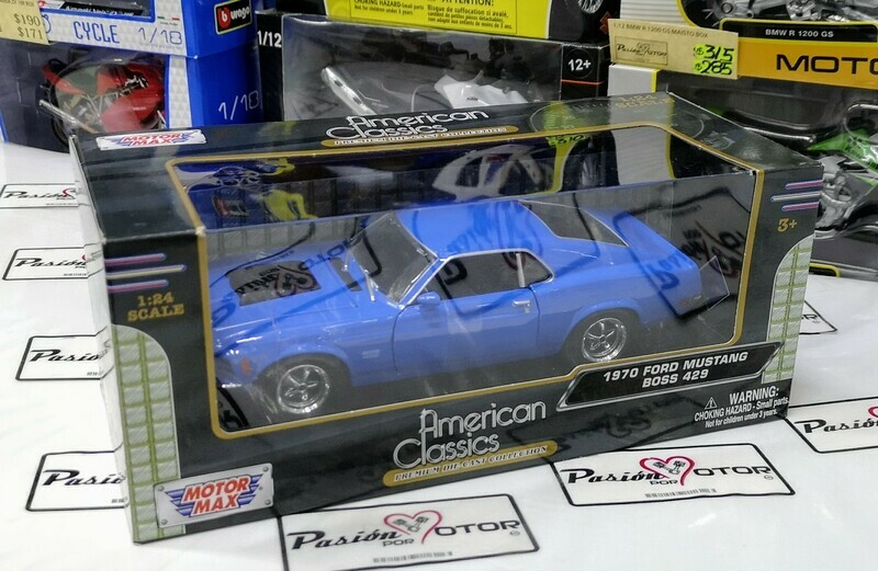 1:24 Ford Mustang Boss 1970 Azul Motor Max Shelby C Caja