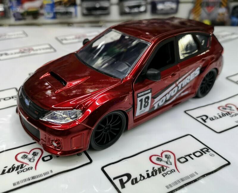 1:24 Subaru Impreza WRX STi 2012 Rojo Cady Jada Toys JDM Tunerz En Display / A Granel