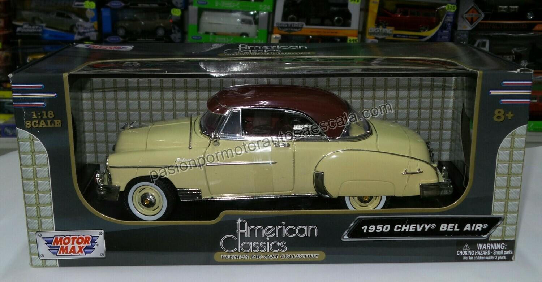 1:18 Chevrolet Bel Air Coupe 1950 Amarillo C Techo Cafe Motor Max