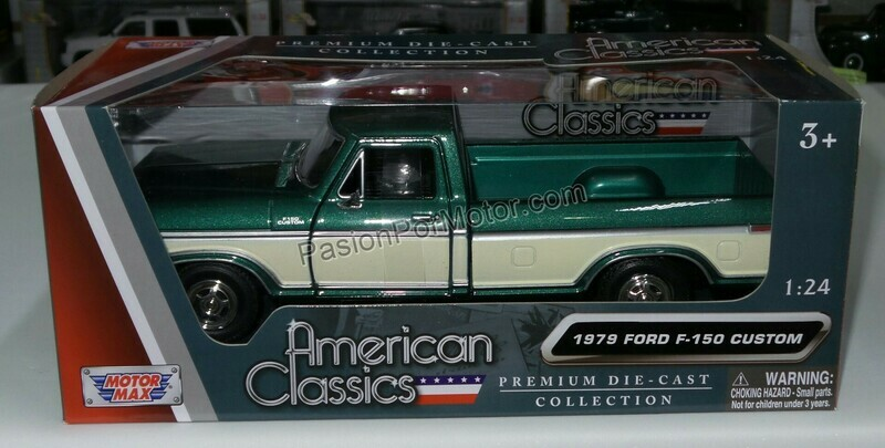 1:24 Ford F-150 Custom 1979 Pick Up Verde C Beige Motor Max C Caja
