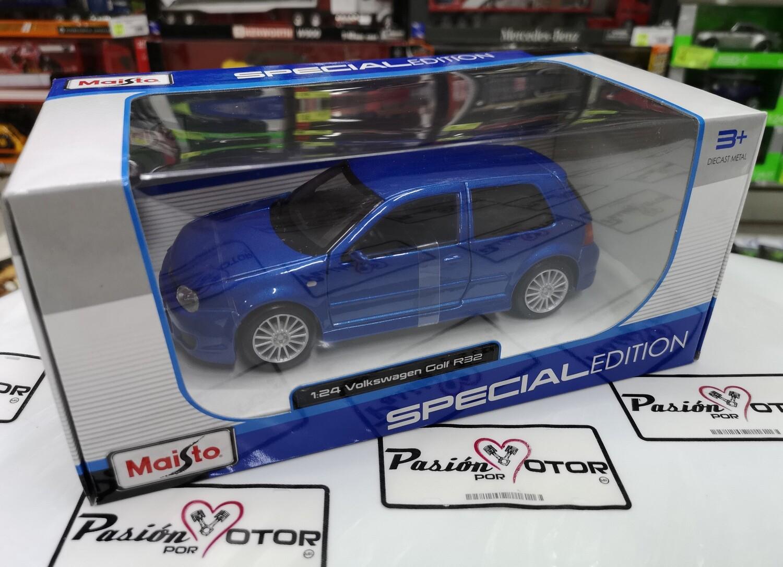 1:24 Volkswagen Golf A4 R32 2002 Azul Maisto Special Edition C Caja