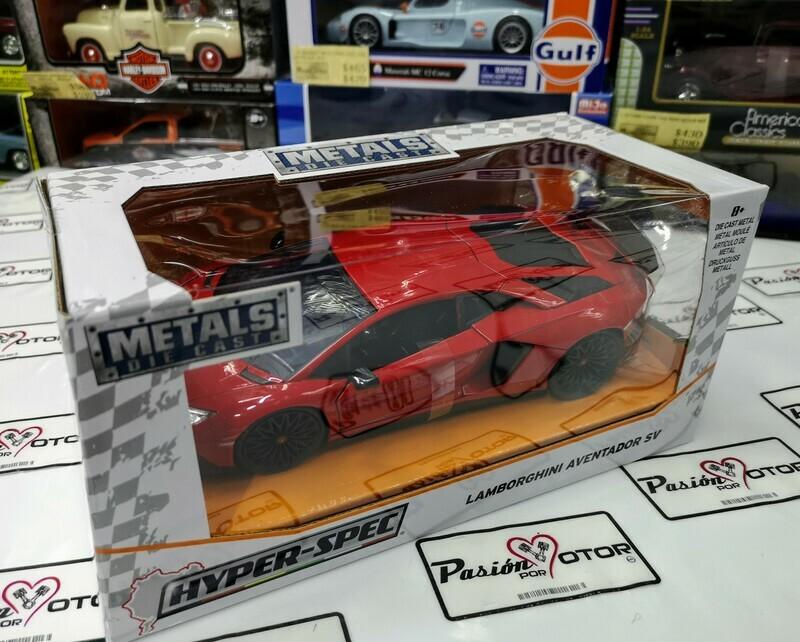 1:24 Lamborghini Aventador LP750-4 SV Rojo Jada Toys Hyper Specs En Caja