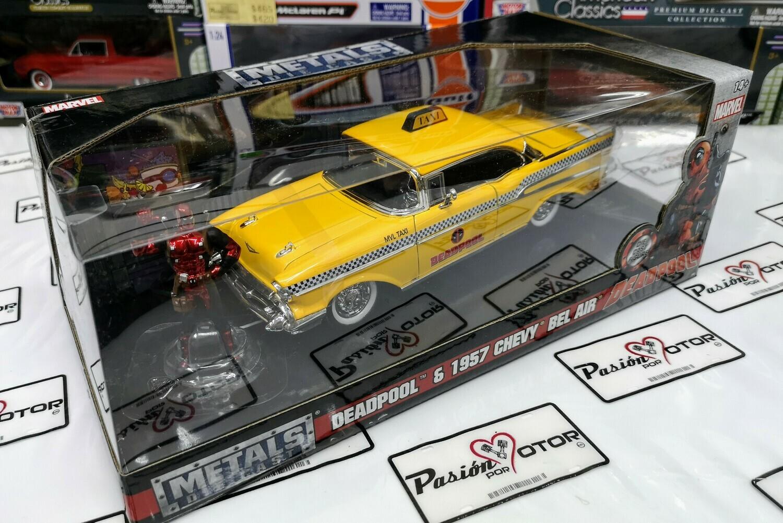 1:24 Chevrolet Bel Air Coupe 1957 Taxi Deadpool C Figura Jada Toys Metals Marvel