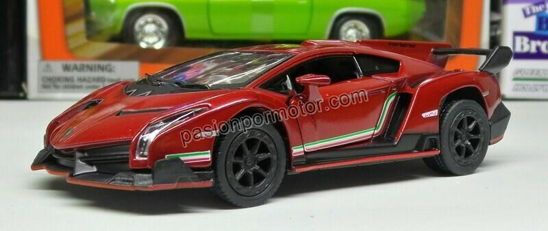 1:36 Lamborghini Veneno 2013 Rojo Kinsmart En Display a Granel 1:32
