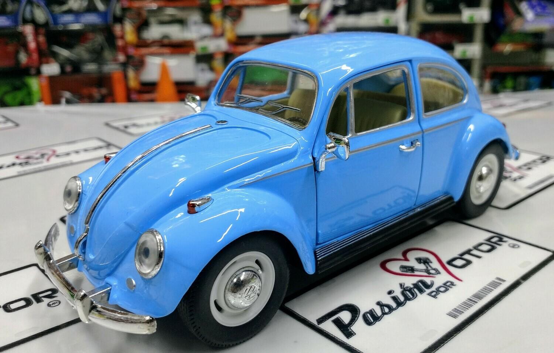 1:24 Volkswagen Beetle 1967 Classic Azul Cielo Kinsmart En Display / A Granel