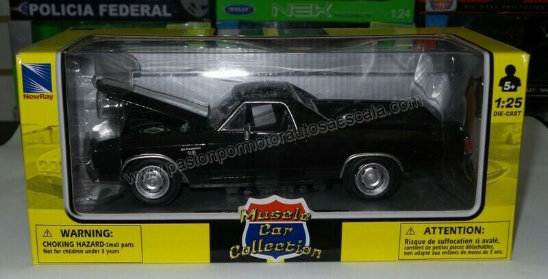 1:25 Chevrolet El Camino SS 1970 Negro Pick Up New Ray C Caja