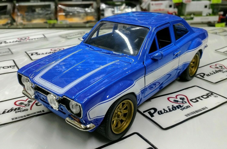 1:24 Ford Escort RS2000 1974 Azul Brian's Rapido Y Furioso 6 Jada Toys En Display / A Granel