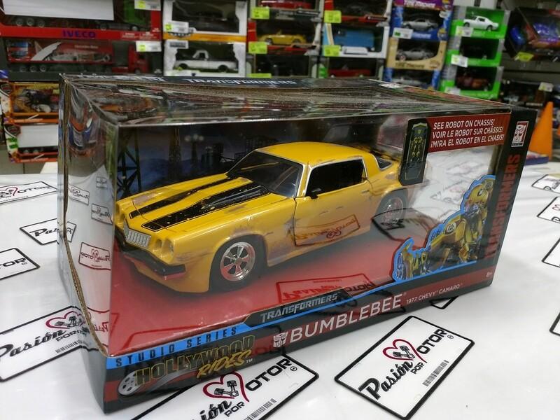 1:24 Chevrolet Camaro 1977 Bumblebee Transformers Jada Toys Hollywood Rides C Caja
