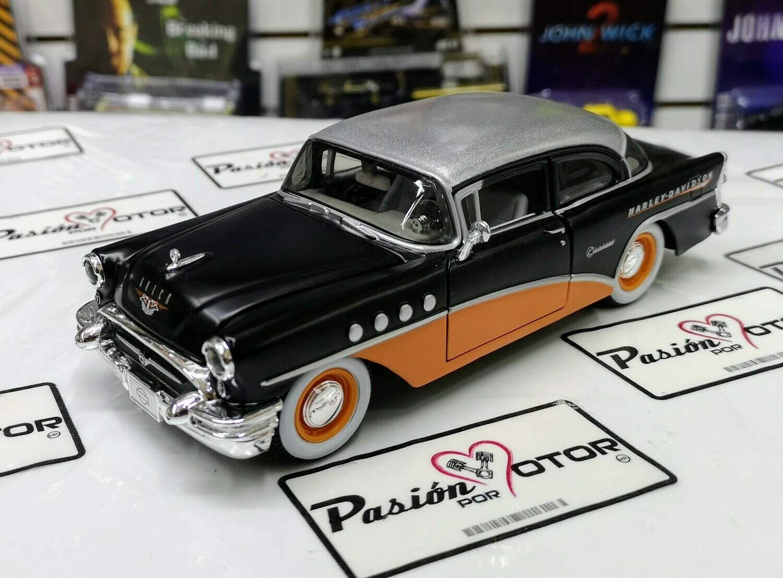 1:26 Buick Century Coupe 1955 Negro Naranja Maisto H-D Harley Davidson En Display / A Granel 1:24
