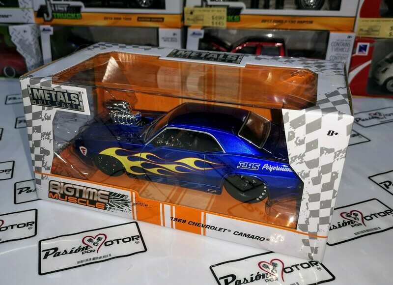 1:24 Chevrolet Camaro 1969 Show Engine Azul Jada Big Time Muscle En Caja