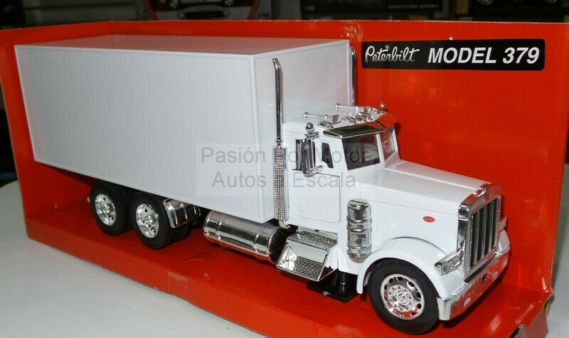 1:32 Peterbilt Model 387 1987 Torton Con Caja Seca Blanco New Ray