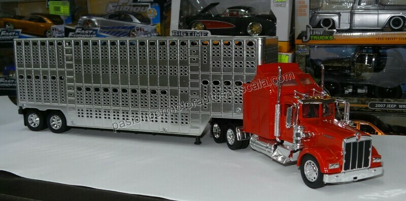 1:32 Kenworth W900 1979 Rojo C Trailer Caja Ganadera New Ray