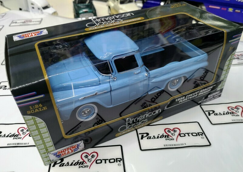 1:24 Chevrolet Apache 1958 Pick Up Azul Motor Max C Caja