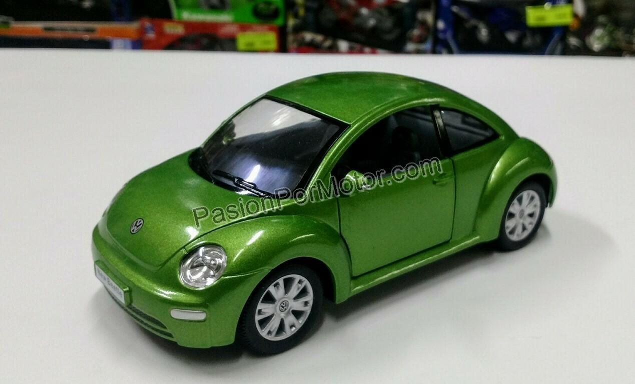 1:24 Volkswagen New Beetle 1998 Verde Kinsmart Vocho En Display / A Granel