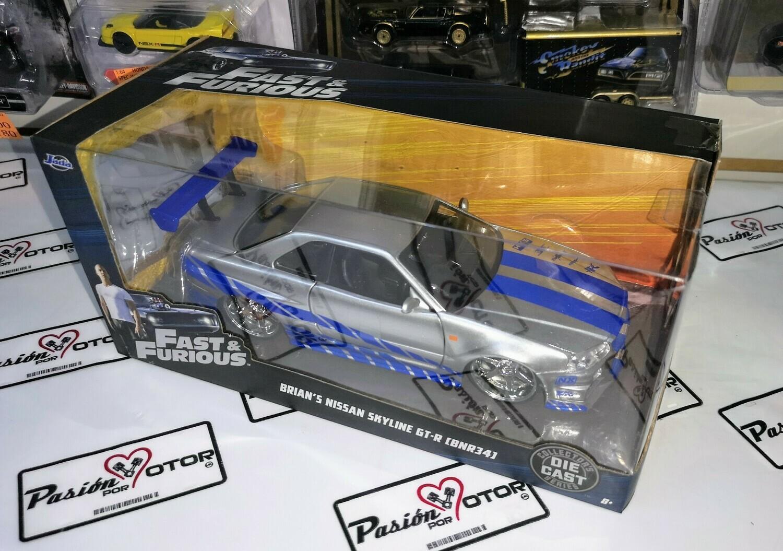 1:24 Nissan Skyline R34 1999 Plata Brian´s Rapido Y Furioso 2 Jada Toys C Caja