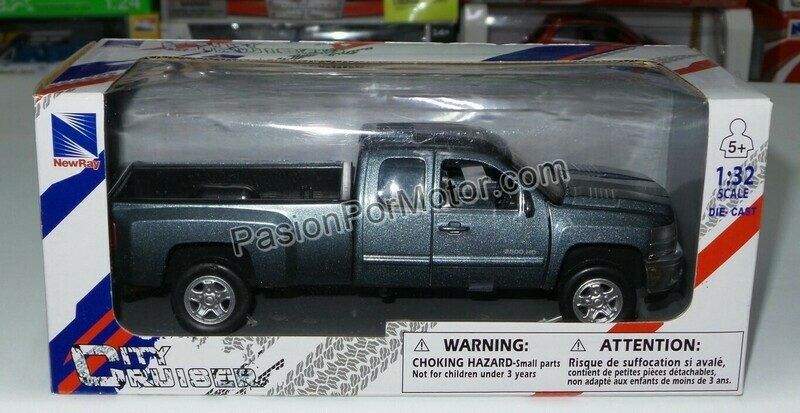 1:32 Chevrolet 2500 HD Extended Cab 2008 Gris Pick Up New Ray