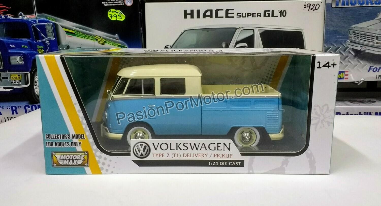 1:24 Volkswagen Type 2 T1 Pick Up 1961 Azul C Beige Motor Max C Caja