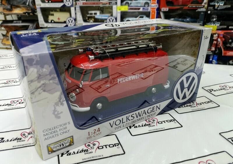 1:24 Volkswagen Type 2 T1 Combi Panel 1961 Bomberos Rojo Motor Max C Caja