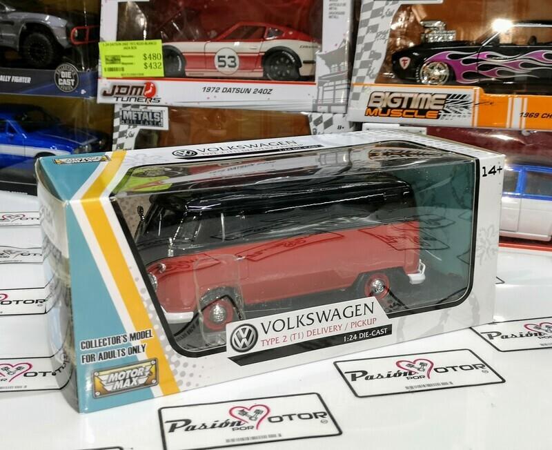 1:24 Volkswagen Type 2 T1 Panel 1961 Rojo c Negro Motor Max C Caja