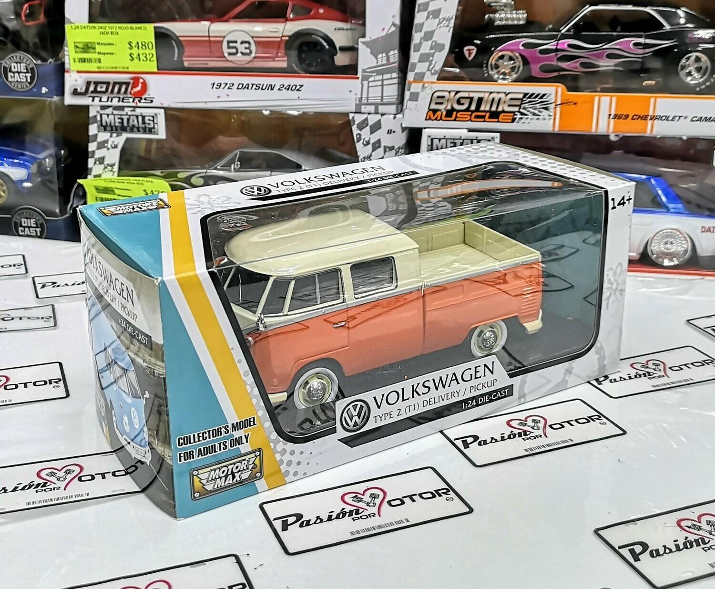 1:24 Volkswagen Type 2 T1 Combi Pick Up 1961 Naranja C Beige Motor Max C Caja