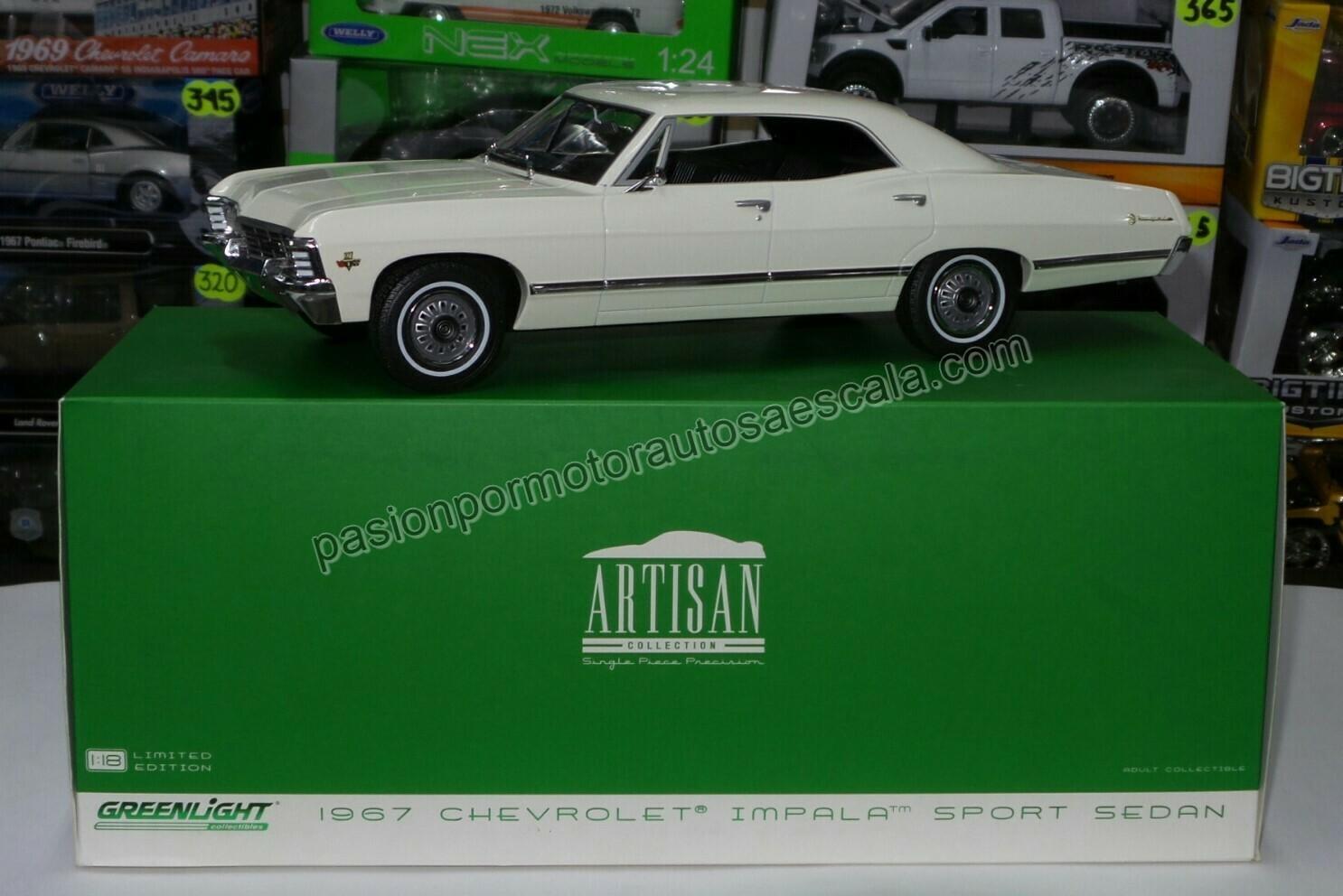 1:18 Chevrolet Impala Sport Sedan 1967 Blanco Greenlight Artisan