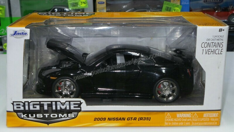1:24 Nissan GT-R R35 2009 Negro Jada Toys Big Time Kustoms C Caja